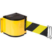 Lavi Industries Yellow Quick Mount Barricade, 18'L Black/Yellow Retractable Belt, Universal Mount