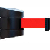 Tensabarrier Black Wall Mount 15'L Red Retractable Belt Barrier