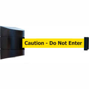 "Tensabarrier Black Wall Mount 15'L Black on Yellow ""Caution - Do Not Enter"" Retractable Belt Barrier"