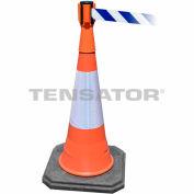 Tensabarrier Orange TensaCone Topper 7,5' L Blue/White Chevron ceinture rétractable barrière
