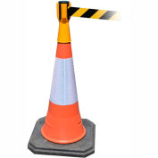 Tensabarrier Safety Crowd Control, Queue Cone Topper, Jaune Avec 7,5' Ceinture rétractable noire/jaune