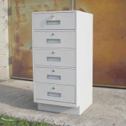 "Fenco Teller Pedestal Cabinet 214-I - 5 Drawers 18""W x 19""D x 38-1/2""H Gray"