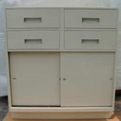 "Fenco Teller Pedestal Cabinet S-251-B - 4 Drawers Sliding Doors 37""W x 19""D x 38-1/2""H Black"