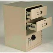 Fenco Lowboy piédestal Safe S-620L-I - 2 tiroirs épaisse pleine gauche charnières porte 19 x 19 x 27-7/8 gris