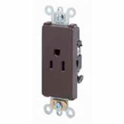 Leviton 16251 15A, 125V, NEMA 5-15R, Decora Plus Single Receptacle, Self-Grounding, Brown