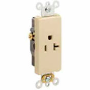 Leviton 16341-GY 20A, 125V, Decora Plus Single Receptacle, Commercial Grade, Self-Grounding, Gray