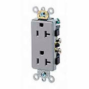 Leviton 16342-GY 20A, 125V, Decora Plus Duplex Receptacle, Self Grounding, Gray