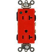 Leviton 16362-Plr 20a, 125v, Decora Plus Duplex Receptacle, Red - Min Qty 8
