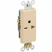 Leviton 16441-I 20A, 250V, Decora Plus Single Receptacle, Commercial Grade, Self-Grounding, Ivory