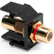 Leviton 40830-BER QuickPort RCA Gold-Plated Connector with Red Stripe, Black