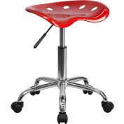 Flash meubles bureau tabouret - dos nu - plastique - rouge