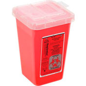 "1-Quart Phlebotomy Sharps Container, Dual Openings, 6-7/16""H x 4-1/4""W x 4-1/4""D, Red"