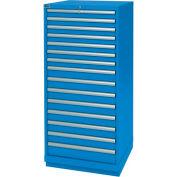 Lista® 15 Drawer Standard Width Cabinet - Bright Blue, Individual Lock