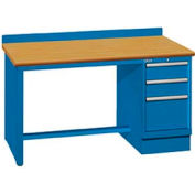 60x30x35.25 Cabinet & Leg workbench w/3 drawers, back stop/butcher block top