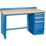 Technical Workbench w/Tech Leg, 3 Drawer Cabinet, Butcher Block Top - Blue