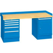 72x30x35.25 (2) Cabinet workstation w/6 drawers, back & end stops/butcher block top
