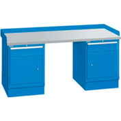 72x30x35.25 (2) Cabinet workstation w/2 drawers, back & end stops/plastic laminate top