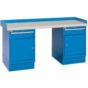 Industrial Workbench w/1 Drawer w/Shelf Cabinets, Plastic Laminate Top - Blue