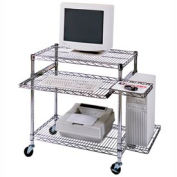 """Luxor Chrome Wire Mobile Computer Workstation, 29-1/2""""W x 18""""D x 42""""H"""
