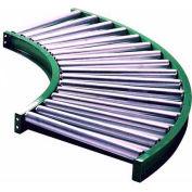"Ashland 90° Curve Roller Conveyor - 10"" BF - 1.9"" Roller Dia. - 3"" Axles - 30"" Inside Radius"
