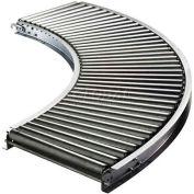 "Ashland 90° Curve Roller Conveyor 10"" BF - 1-3/8"" Roller Dia. - 1-1/2"" Axles - 36"" Radius"