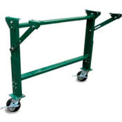 """Castered H-Stand for Ashland 24"""" OAW Skatewheel & 22"""" BF Roller Conveyor - 23-5/8"""" to 32-1/4""""H"""