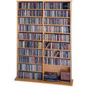 Open Wall Multimedia Storage Rack Oak, 1000 CDs/408 DVDs