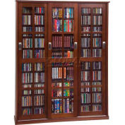 Mission Style Sliding Glass Door Multimedia Storage Cabinet Walnut, 1050 CDs