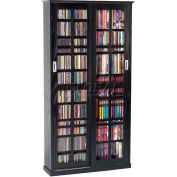 Mission Style Sliding Glass Door Multimedia Storage Cabinet Black, 700 CDs