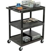 Luxor® RC40 Black Multi-Use 3-Shelf Plastic Utility Cart
