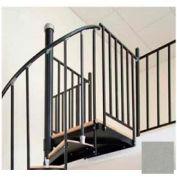 "Spiral Staircase Kit - The Iron Shop, Beach, Aluminum Tube Balcony Rail, 5'6"", Gloss Silver"