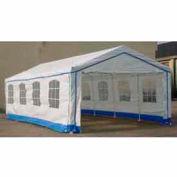14'W x 27'L x 9'H Party Tent, White With Blue Trim
