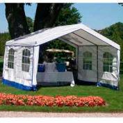 14'W x 32'L x 9'H Party Tent, White With Blue Trim