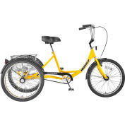 """Husky Bicycles T-124 Industrial Tricycle, 500 Lb. capacity, 24"""" Wheels, Includes Basket, Yellow"""