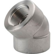 """Ss 304/304l Forged Pipe Fitting 1-1/4"""" 45 Degree Elbow Npt Female - Pkg Qty 3"""
