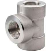 """Ss 304/304l Forged Pipe Fitting 1-1/4"""" Tee Npt Female - Pkg Qty 2"""