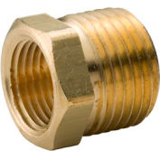 "Brass Yellow Barstock 1/4"" X 1/8"" Hex Bushing Npt Male X Female - Pkg Qty 100"