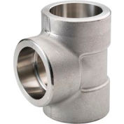 """Ss 304/304l Forged Pipe Fitting 1-1/4"""" Tee Socket Weld - Pkg Qty 3"""