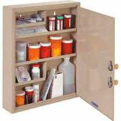 "STEELMASTER® Medical Security Cabinet, Double Key Locks, 14""W x 3-1/8""D x 17-1/8""H, Sand"