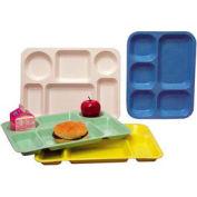 "Molded Fiberglass 6 Compartment School Tray 345008 -15-1/2""L x 11-5/8""W, Pkg Qty 12, Blue - Pkg Qty 12"