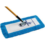 """All-In-One Dust Mop Combo w/ Frame & Handle - 5"""" x 24"""" Static-H Tie-On - Blue"""