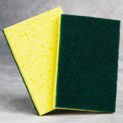 "Cellulose Sponge with Scouring Pads - 4"" x 6"" x 7/8"" - Yellow/Green - Pkg Qty 10"