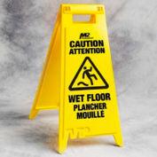 """Caution Wet Floor Sign Bilingual - 28"""" - Yellow"""