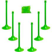 "Plastic Stanchion Kit - Safet Green - 6pk 50' of 2"" Chain W/ C-Hooks Incl. - 2"" Pole, 14"" Base, 41""H"