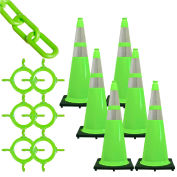 Mr. Chain 93277-6 Traffic Cone & Chain Kit with Reflective Collars, Safety Green, 93277-6
