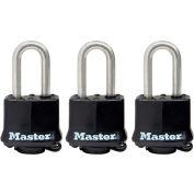 """Master Lock® Covered Laminated Padlock No. 311SSTRILFHC - 1-1/2"""" Shackle - Black - Pkg Qty 3"""