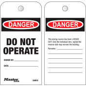 "Master Lock® Safety ""Do Not Operate"", Boxed Roll of 100 Tags, English, S4810"