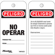 "Master Lock® Safety ""Do Not Operate"", Boxed Roll of 100 Tags, Spanish, S4810LES"