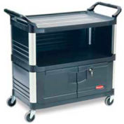 Rubbermaid® 4095-00 Xtra™ 3 Shelf Black Equipment Locking Cabinet Cart