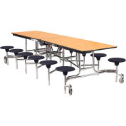 NPS® 10' Mobile Cafeteria Table with Stools - MDF - Oak Top/Black Stools/Chrome Frame